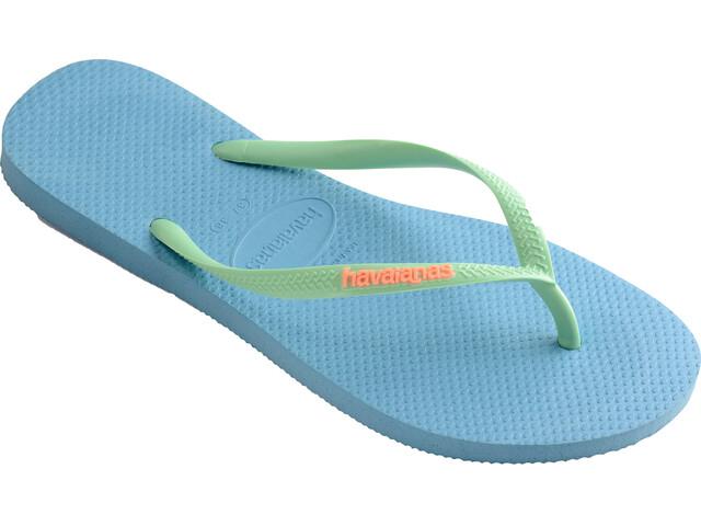 havaianas Slim Logo Flips Women Blue Splash